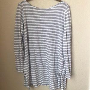 Eileen Fisher Long Sleeved Grey White Linen Size M